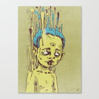 The Golden Boy With Blue… Canvas Print