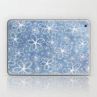 Doodle Flowers Blue Laptop & iPad Skin