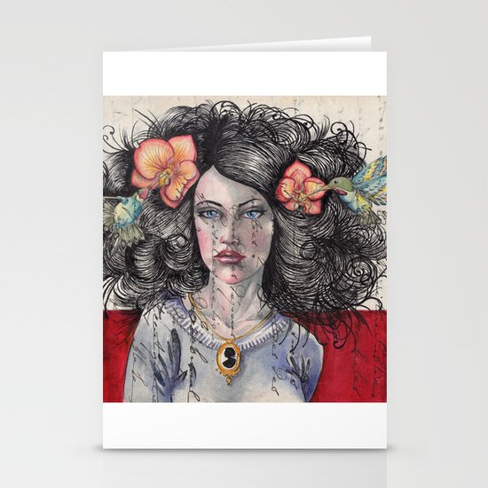 She Had Hummingbirds in Her Hair Stationery Card