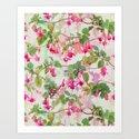 Rainbow Fuchsia Floral Pattern Art Print