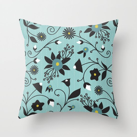 Folky Floral Throw Pillow
