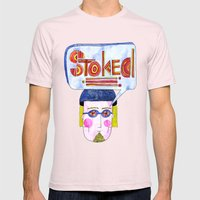 STOKED!!! Mens Fitted Tee Light Pink SMALL