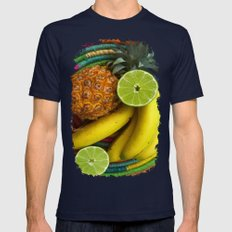 Banana Pineapple Lime Mens Fitted Tee Navy SMALL
