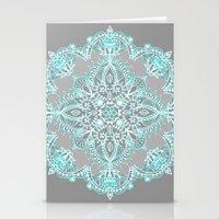 Teal and Aqua Lace Mandala on Grey Stationery Cards