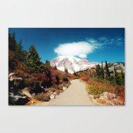 Canvas Print featuring Mt Rainier In Autumn by Sylvia Cook Photogra…