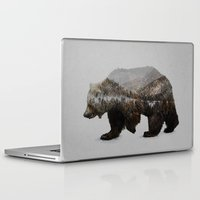 colorful Laptop & iPad Skins featuring The Kodiak Brown Bear by Davies Babies