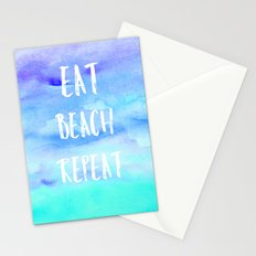 Cool eat beach repeat typography blue watercolor Stationery Cards