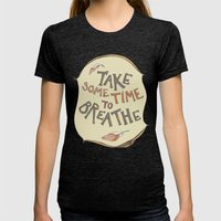 Take Some Time To Breath… Womens Fitted Tee Tri-Black SMALL