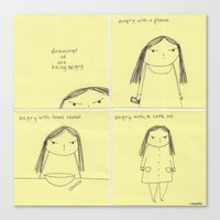 Drawings of me being angry Canvas Print