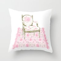Shabby Chic Arrows Rug and French Chair Throw Pillow