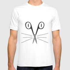 scissors cat SMALL Mens Fitted Tee White