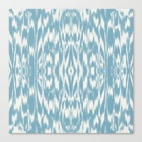 Ikat: Light Blue Ivory Canvas Print