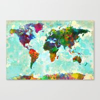 Abstract Watercolor World Map Canvas Print