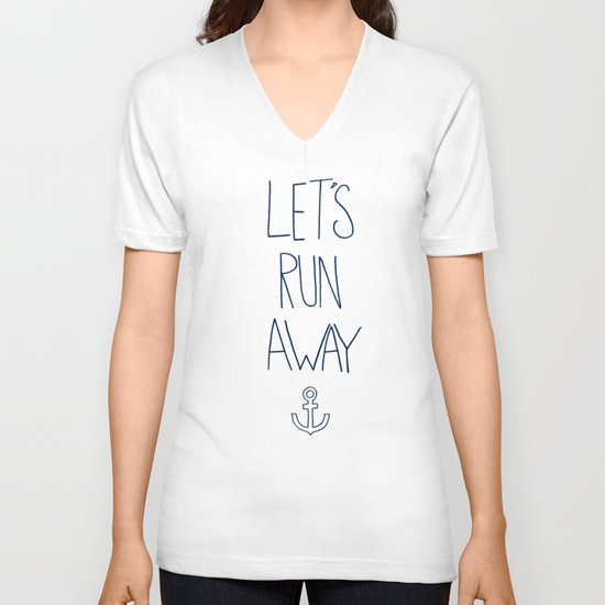 Let's Run Away: Sandy Beach, Hawaii V-neck T-shirt