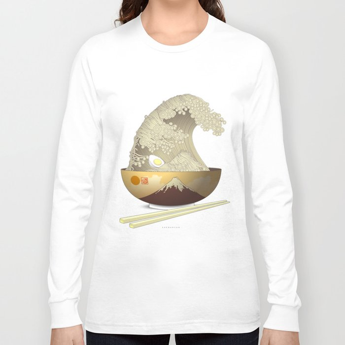 The great ramen wave long sleeve t shirt by sheharzad The great t shirt