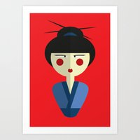 Japanese Doll Art Print