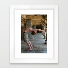 Yoga Asana dropback preparation back bending Urdhva Dhanurasana preparation Ashtanga Framed Art Print