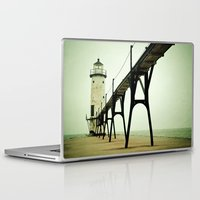 beach Laptop & iPad Skins featuring Manistee Light by Olivia Joy StClaire