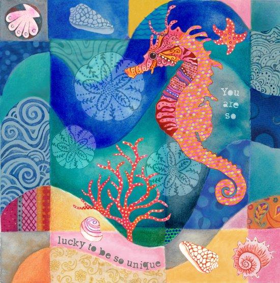 Seahorse collage Art Print