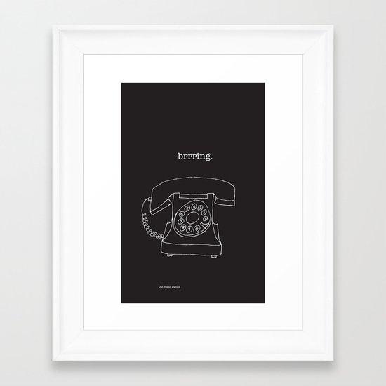 Vintage Telephone Negative Framed Art Print