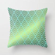 Gold foil triangles on aqua Throw Pillow