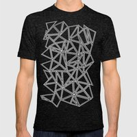 Abstract New White On Bl… Mens Fitted Tee Tri-Black SMALL