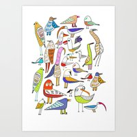 Birds. bird, pattern, animals, kids, art, design, illustration,  Art Print