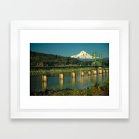 Hood River Bridge and Mount Hood Framed Art Print