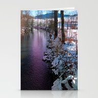Quiet River In Winter Ti… Stationery Cards