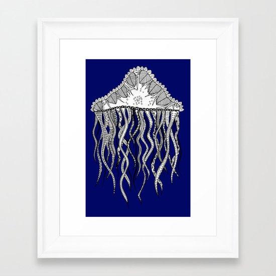 Blue Jellyfish Framed Art Print