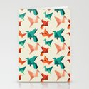 teal paper cranes Stationery Cards