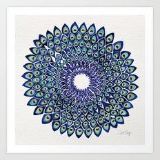 Peacock Mandala – Navy… Art Print