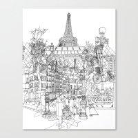 Paris B&W (Dark T-shirt version) Canvas Print