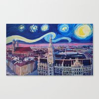 Starry Night In Munich   Van Gogh Inspirations with Church of Our Lady and City Hall Canvas Print