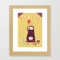 Happy birthday purple monster! Framed Art Print