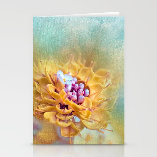 VARIE SQUARE - Floral and painterly texture work Stationery Card