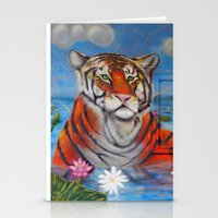Bathing Tiger Stationery Cards