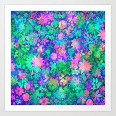 Fluro Floral Art Print