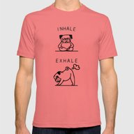 Inhale Exhale Pug Mens Fitted Tee Pomegranate SMALL
