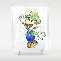 Luigi Watercolor Art Shower Curtain