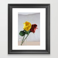 Origami Yellow And Red R… Framed Art Print