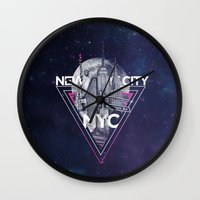 New York City V [pink] Wall Clock