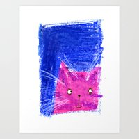 Crayon Cat Art Print