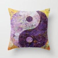 Purple Yin Yang Throw Pillow