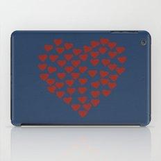 Hearts Heart Red on Navy Tex iPad Case