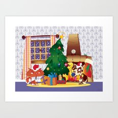 Merry Christmas Cat and Dog Art Print