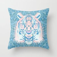 Pastel Quartz Tiger Throw Pillow
