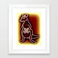 The Flying Kangaroo & It's Joey Framed Art Print