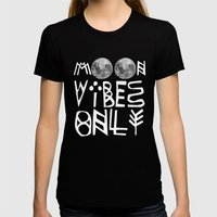MOON vibes only! Womens Fitted Tee Black SMALL