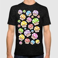 Iddy Diddy Mushrooms  Mens Fitted Tee Tri-Black SMALL